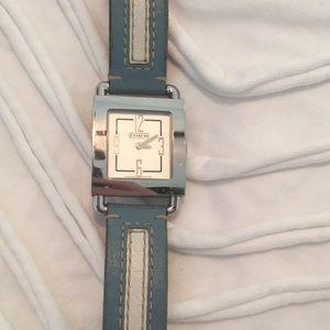 Coach Blue white Leather strip silver watch